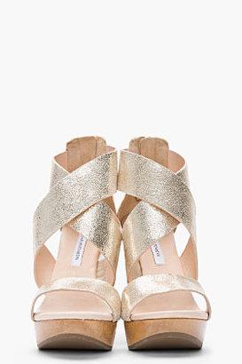 Diane von Furstenberg Metallic Gold Leather & wood Opal Wedges