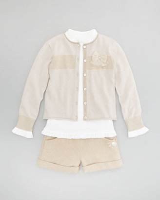Tartine et Chocolat Girls' Shimmery Tweed Shorts, Champagne, 2T-6