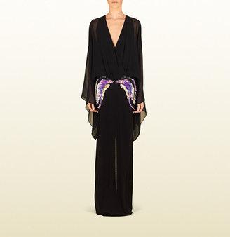 Gucci Black Kimono Dress With Waist Embroidery