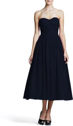 Monique Lhuillier Strapless Draped-Bodice Tulle Cocktail Dress