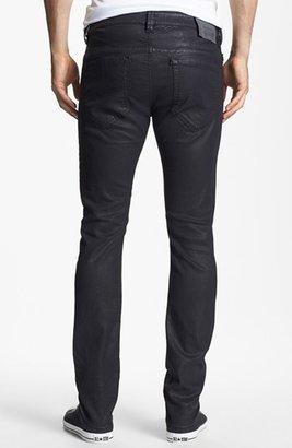 Diesel 'Thavar' Coated Skinny Fit Selvedge Jeans (Black)