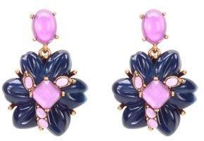 Oscar de la Renta Navy and Purple Flower Drop Earrings