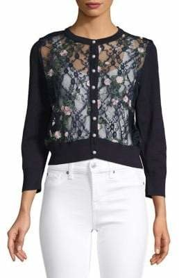Karl Lagerfeld Paris Embroidered Lace Cardigan