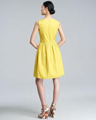 Lela Rose Split-Neck A-Line Dress
