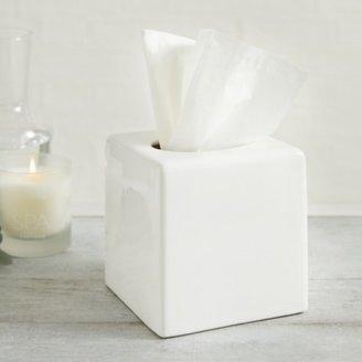 The White Company Newcombe Ceramic Tissue Box Cover , White, One Size