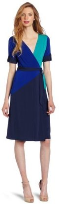BCBGMAXAZRIA Women's Caitlin Color Blocked Wrap Dress