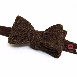 40 Colori - Brown Herringbone Wool Butterfly Bow Tie