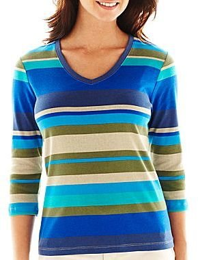 JCPenney St. John's Bay® 3/4-Sleeve V-Neck Top - Petites
