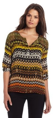 Vince Camuto Women's Split Neck Roll Tab Sleeve Blouse