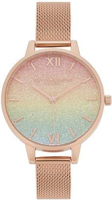 Olivia Burton Rainbow Glitter Rose Gold-plated Watch