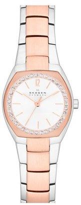 Skagen Crystal Bezel Barrel Case Bracelet Watch, 25mm x 22mm