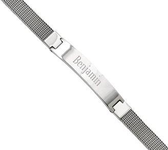 """Steel By Design Stainless Steel 7-3/4"""" Mesh Engravable ID Bracelet"""