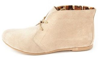 Charlotte Russe Sueded Lace-Up Ankle Bootie