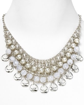 """RJ Graziano Pearl and Stones Cluster Necklace, 16.5"""""""