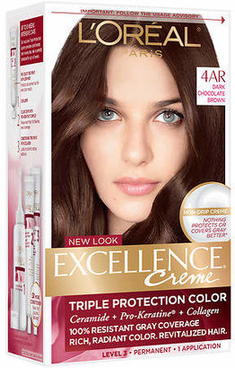 L'Oreal Excellence Triple Protection Permanent Hair Color Creme Dark Chocolate Brown 4AR Cooler