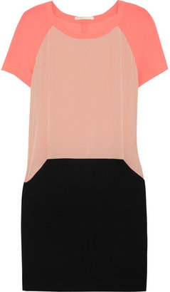 Maje Armelle neon stretch-crepe, silk-georgette and crepe-jersey dress