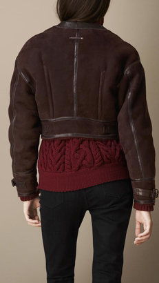 Burberry Cropped Shearling Bomber Jacket