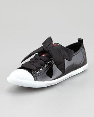 Prada Patent Leather Cap-Toe Sneaker, Black