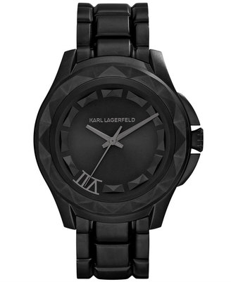 Karl Lagerfeld Unisex 7 Black Ion-Plated Stainless Steel Bracelet Watch 44mm KL1021