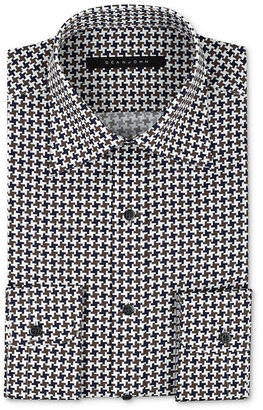 Sean John Dress Shirt, Chestnut Houndstooth Long-Sleeved Shirt