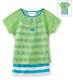 Beautees Girls' 7-16 Neon Green Striped Crochet Popover Top
