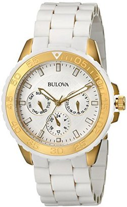 Bulova Women's 98N102 White Rubber Wrapped Stainless-Steel Bracelet Watch $97.64 thestylecure.com