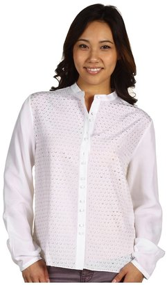 Edun Laser Cut Silk Blouse (White) - Apparel