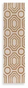 angelo:HOME Hudson Park Geometric 2-Foot 6-Inch x 8-Foot Runner in Gold/White