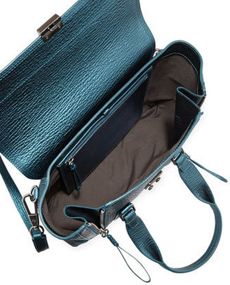 3.1 Phillip Lim Pashli Medium Metallic Satchel Bag, Turquoise