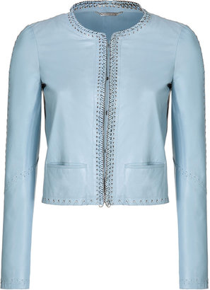 Roberto Cavalli Leather Jacket with Embellished Lace Trim
