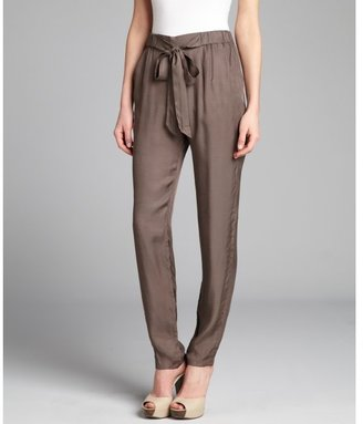 French Connection olive grey jersey tie waist slouchy tapered leg pants