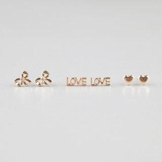 Full Tilt 3 Pair Heart/Bow/Love Post Earrings