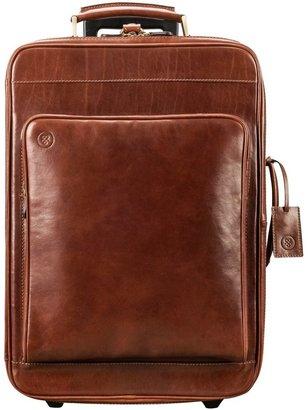 Maxwell Scott Bags Maxwell Scott Quality Italian Leather Wheeled Luggage - Piazzale Tan