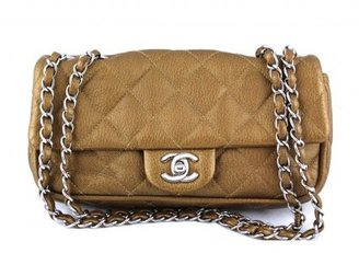 Chanel excellent (EX Dark Gold Quilted Deerskin East West Classic Flap Bag