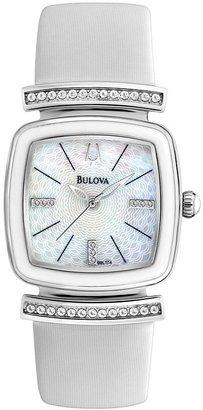 Bulova watch - women's crystal white leather - 98l174