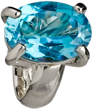 Charles Albert Raised Blue Topaz Adjustable Cocktail Ring