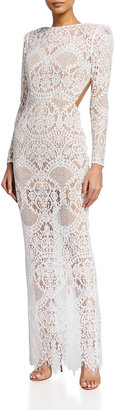 Bronx and Banco Allegra Long-Sleeve Lace Column Gown
