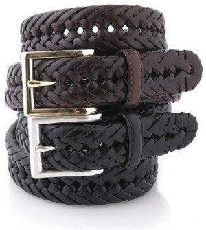 Club Room Leather Braided Belt