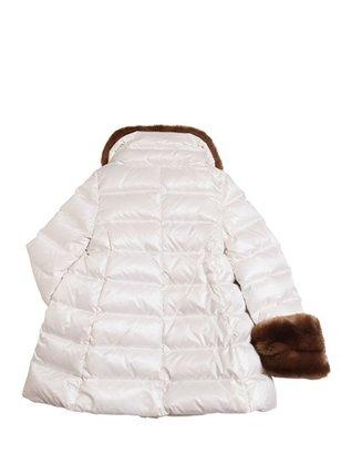 Simonetta Nylon & Faux Fur Down Jacket