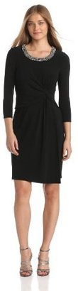 Anne Klein Women's Draped Matte Jersey Sheath Dress