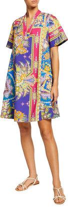 Etro V-Neck Paisley-Print Trapeze Dress