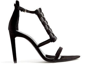 Proenza Schouler Black Woven Panel Suede Sandals