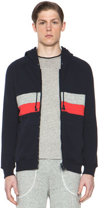This is Not a Polo Shirt by band of outsiders Panel Stripe Zip Hoodie in Navy