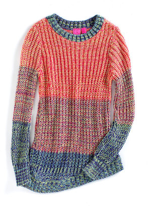 Takeout Girl Girls 2-6X Knit Colorblock Sweater