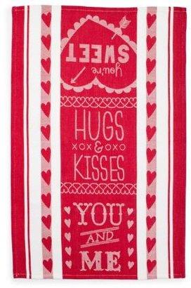 Sur La Table Hugs and Kisses Jacquard Kitchen Towel