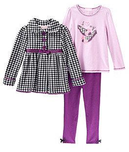 Kids Headquarters Girls' 2T-6X Black/Purple 3-pc. Houndstooth Set