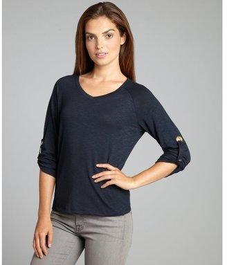 Ellen Tracy navy semi-sheer knit v-neck grommet top
