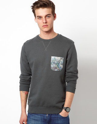 Asos Sweatshirt With Floral Pocket