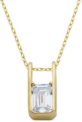 Lord & Taylor 18Kt Gold and Emerald Cut Cubic Zirconia Pendant Necklace