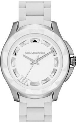 Karl Lagerfeld '7' Beveled Bezel Silicone Bracelet Watch, 44mm
